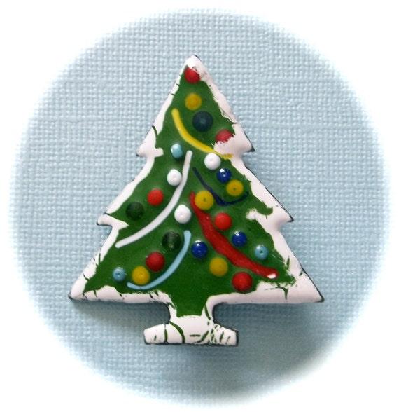Enamel On Copper Christmas Tree Pin