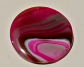 Onyx, Agate, Pendant - Hot Pink with and creamy swirls