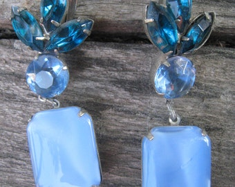Gorgeous Vintage Drop Earrings with Emerald, Sky Blue and Milky Blue Stones