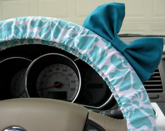 Steering Wheel Cover Bow, Aquamarine Blossoms Steering Wheel Cover with Teal Bow BF11171