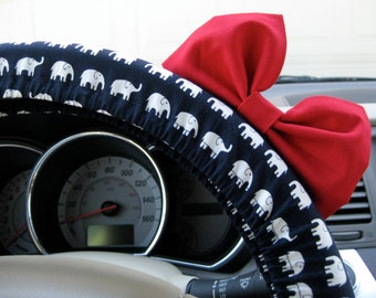 Steering Wheel Cover Bow - Limited Edition Navy and White Elephants Steering Wheel Cover with Bright Red Bow, Black Elephants Blue BF11068