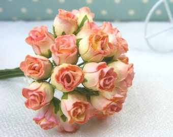25 Paper Flowers / Orange  Rose buds   Mulberry  Paper Flowers