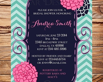 Bridal shower Invitation, Navy, Pink Flowers, Chevron Stripes, Teal, Wedding Shower, Cute Frame Bridal Shower,Floral,Pink Flowers, 5034