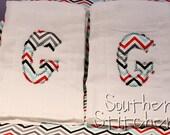 Set of 2 Custom Monogram Chevron Burp Cloth Great Baby Gift Shower Gift