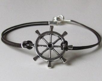 Ships Wheel Jewelry Rudder Bracelet Nautical Bracelet Nautical Jewelry Gifts for Men Women Jewelry Gift Leather Bracelet Unisex Jewelry