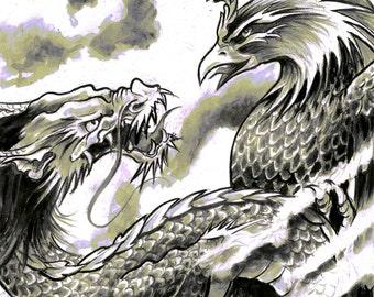 A3 Dragon Phoenix Japanese Tattoo Art Print Cathy FitzGerald