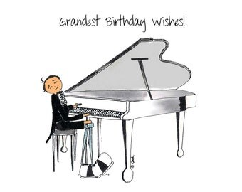 Grand Piano Birthday Card, Whimsical Piano Player Design, Happy Birthday Card for a Musician or Music Lover