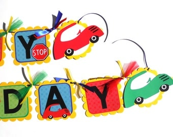 Toy Car Bright Primary Colors Happy Birthday Banner