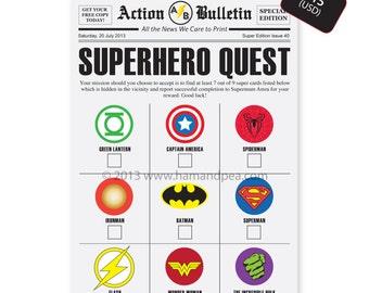 Superhero Scavenger Hunt (DIY Printable File)