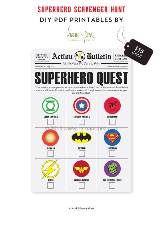 Superhero Scavenger Hunt DIY Printable File