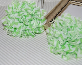 "Chiffon Lace Flowers - 2 pcs GREEN CHEVRON - 3.75""  fabric flowers Shabby Chic Frayed Chiffon mesh & Lace Flowers hair brooch headband"