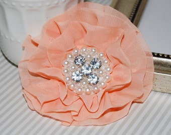 Peach Fabric Flowers - 3.5' soft chiffon and sheer layered fabric flowers with rhinestone pearl centers Hair hat boutique flowers Lorna