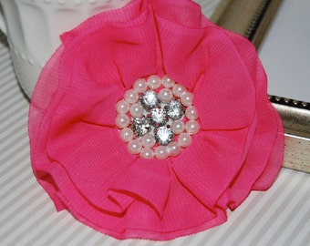 Hot Pink Fabric Flowers - 3.5' soft chiffon and sheer layered fabric flowers with rhinestone pearl centers Hair hat boutique flowers Lorna