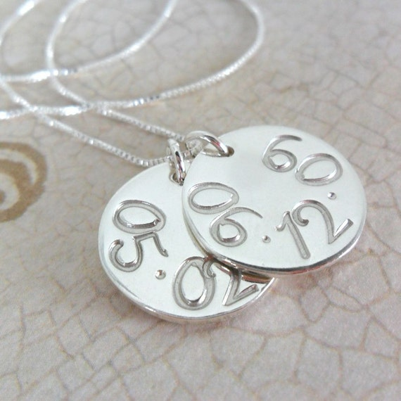 Custom Date Necklace | Date Jewelry | Special Date Jewelry | Mommy Jewelry | Couple's Jewelry | Sterling Silver Discs | Large Numbers