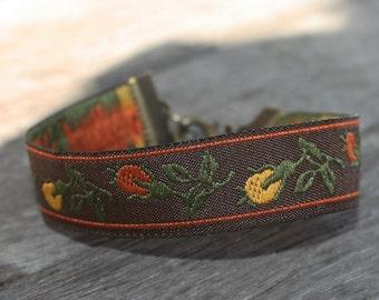 Embroidered Ribbon Bracelet -Orange, Green, Gold on Brown - Bronze Findings, stacking bracelet, fiber bracelet, boho bracelet, woodland