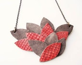 Acer, unique bib necklace, upcycled leather, autumn fall fashion salmon pink, red and brown