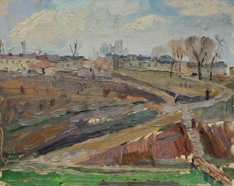 "Oil on cardboard original painting ""Spring in Kharkov Suburb""  1960 by russian artist Ivan Filichev"