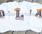 Personalized Football Initial Tee T Shirt Your Team Colors Custom Applique Sports