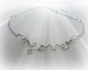 Love Necklace, Silver or Gold Colored, Wire Necklace -  white freshwater pearls, Gift Under 20 dollars