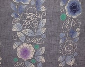 FLORAL DENIM  Unused   Vintage Japanese Yukata cotton fabric  14.5 x 58 inches