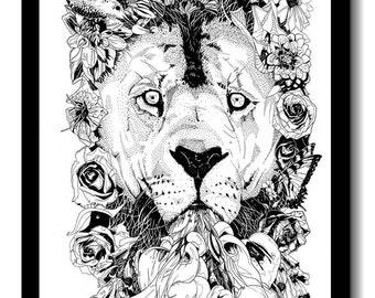 Floral Lion Print - A3