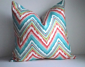 FREE US SHIPPING! Set Of Two -18x18 Decorative Pillow Cover In Ikat - Same Fabric On Both Sides, Throw Pillow