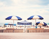 Beach Umbrella Photography, Coastal Wall Art, Navy Blue Decor, Light Beige Print, Pale Cream Photo, Nautical Photograph, Seashore Picture