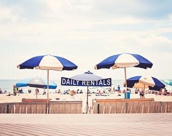 Beach Umbrella Photography, Coastal Wall Art, Navy Blue Decor, Light Beige Print, Pale Cream Photo, Nautical Photograph, Seashore Picture