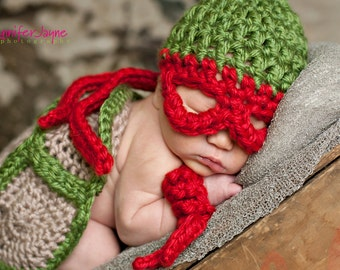 TMNT shell, hat and armbands  Adorable Photo Prop Super Hero Inspired.  Newborn Prop Turtle Power Teenage Mutant Ninja