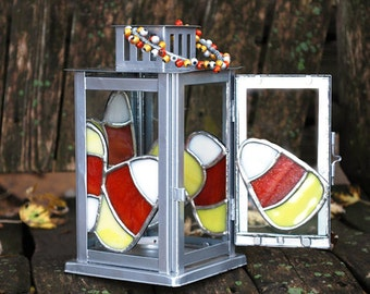 Small Lantern with Candy Corn Stained Glass Panels