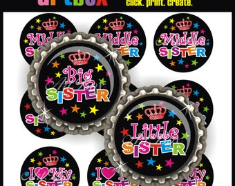 Rockin' Sisters Bottle Cap Images - 4X6 Digital Collage Sheet - BottleCap 1 Inch Circles for Pendants, Hair Bows, Magnets, Badge Reels