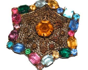 Vintage 20s Czech Filigree Multicolored Rhinestone Star Brooch