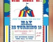 Circus Birthday Invitation, Carnival Birthday Invitation, Circus Carnival Birthday Invite-Digital File You Print