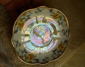 Vintage Hand Painted Yellow Rose Iridescent Plate Home Decor Serving Plate Vintage Bone China Plate