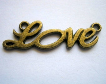 10 Bronze Tone Love Connector Charms       (1158)