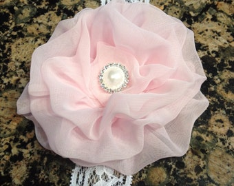 Lovely Pink Chiffon Flower Headband with Elastic  Lace