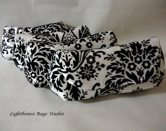 Set of 2// Bridesmaid Wedding Clutch//Black Damask on White