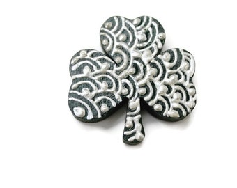 Lucky shamrock wood painted magnet silver henna style mehndi design