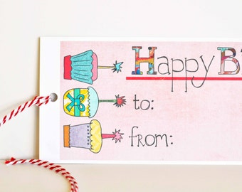 Happy Birthday gift tags for birthday presents, set of 12