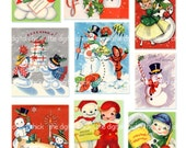 Digital Clipart, instant download, Vintage Snowman couples gifts Vintage Christmas Cards candy canes--8.5 by 11--Digital Collage Sheet  501