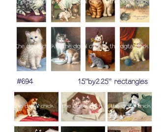 Digital Clipart, instant download, Vintage Cat and Kitten Images kitty cats tiger tabby calico--Digital Collage Sheet (8.5 by 11 inches) 694
