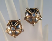 Vintage Silver and Gold Rhinestone Clip On Earrings with Cushioned Backs 1 Inch Round Previously Eighteen Dollars ON SALE