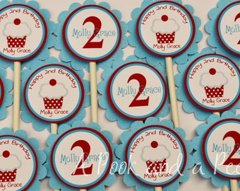 Red White and light blue Classic Cupcake Cupcake Toppers Birthda Shower Cupcake Picks