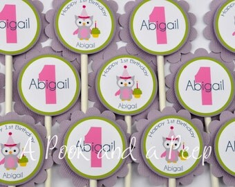 Pink Green Purple Party Owl Cupcake Toppers First 1st Birthday Cupcake Picks Shower Decoration