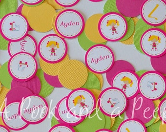 Roller Skate Pink Yellow and Green Happy Birthday Custom Personalized Confetti Decoration