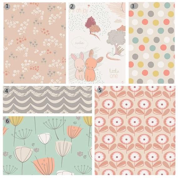 baby girl nursery bedding fabric options peach mint yellow. Black Bedroom Furniture Sets. Home Design Ideas