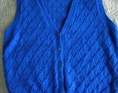 Hand knitted lacey vintage sleeveless cardigan waistcoat cobalt wool L