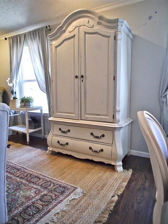 refinished white armoire shabby chic. Black Bedroom Furniture Sets. Home Design Ideas