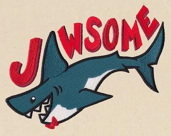 "Shark ""Jawsome""  embroidered feeding bib."