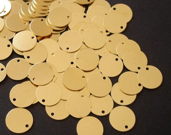 20-Geometrical Raw Brass Disk Stamping Flat Round  10mm.